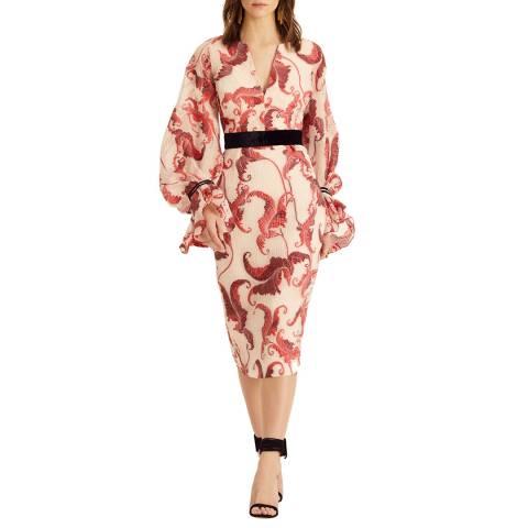 Amanda Wakeley Red Multi Cloque Jacquard Dress