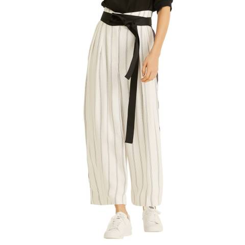 Amanda Wakeley White Multi Double Pinstripe Wide Trousers