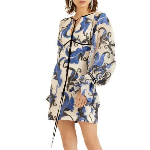 Amanda Wakeley Mini Jacquard Dress Cloque Jacquard Blue Multi Size 06