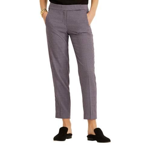 Amanda Wakeley Purple Check Novelty Slim Pant