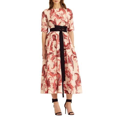 Amanda Wakeley Red Multi Midi Cloque Jacquard Dress