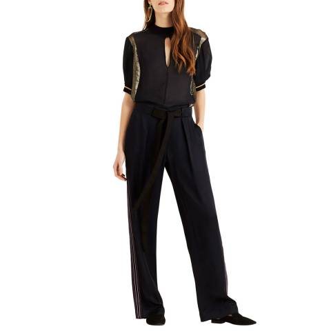 Amanda Wakeley Relaxed Trousers Viscose Satin Midnight Size 06