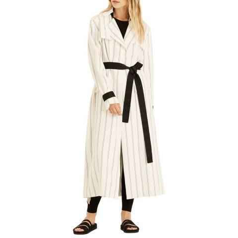 Amanda Wakeley White Multi Pinstripe Trench Coat