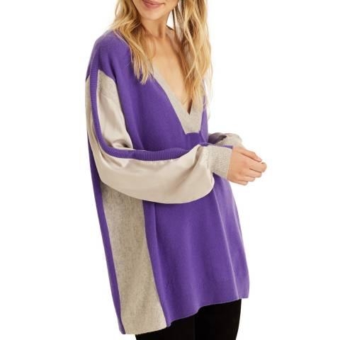 Amanda Wakeley Purple Multi V-Neck Cashmere Jumper