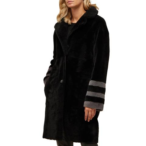 N°· Eleven Black Shearling Stripe Sleeve Reversible Coat