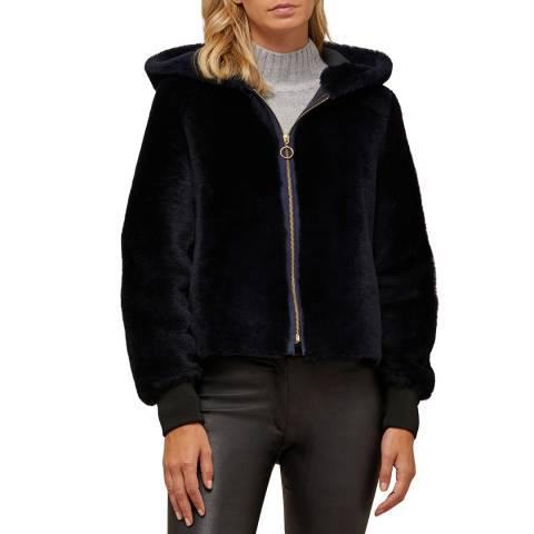 N°· Eleven Navy Shearling Hooded Bomber