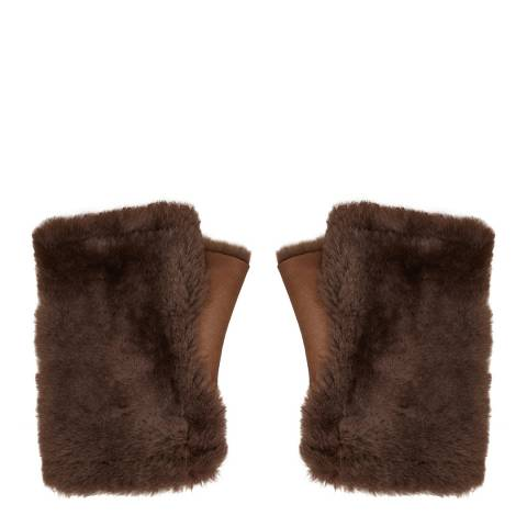 N°· Eleven Light Brown Shearling Fingerless Gloves