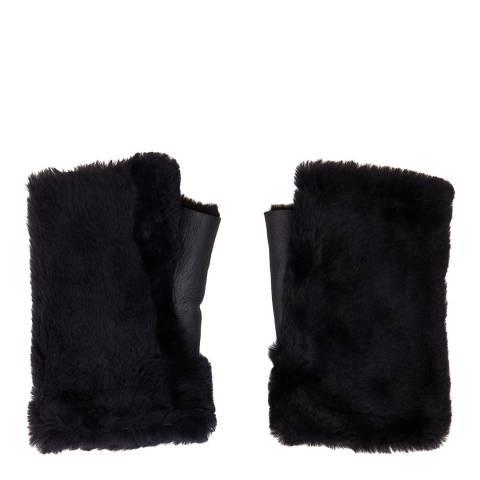 N°· Eleven Navy Shearling Fingerless Gloves