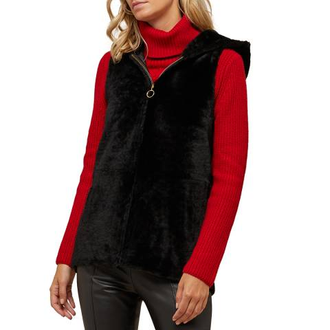N°· Eleven Black Shearling Hooded Gilet