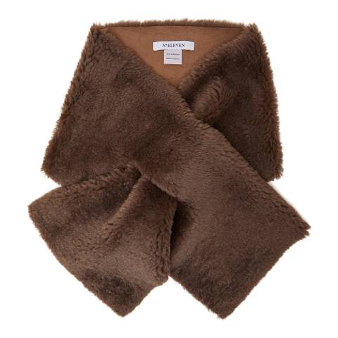 N°· Eleven Light Brown Shearling Scarf