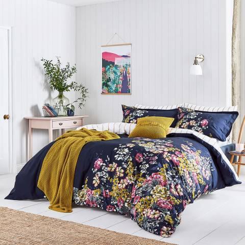 Joules Cambridge French Floral Single Duvet Cover Set, Navy