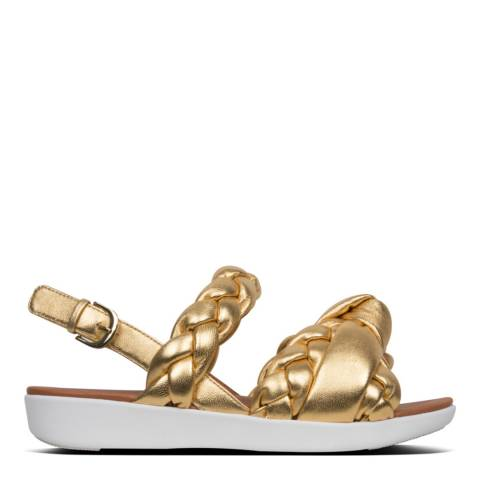 FitFlop Artisan Gold Leather Braid Sandals