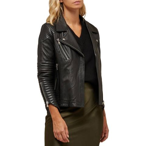 Avie Black Leather Biker Jacket