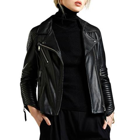 Avie Black Leather Biker Jacket