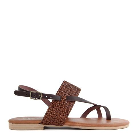 Miss Butterfly Brown Leather Flip Flop Sandals