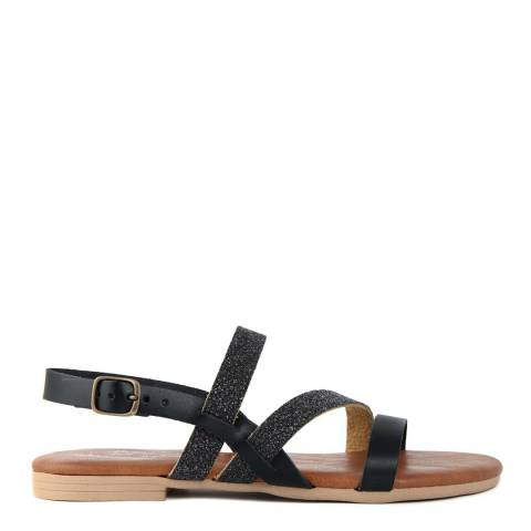 Miss Butterfly Black Leather Strappy Sandals