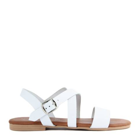 Miss Butterfly White Leather Gladiator Style Sandals