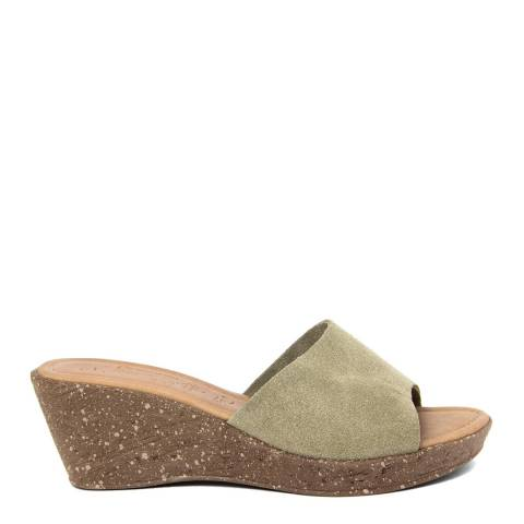 Miss Butterfly Beige Suede Slip On Sandals