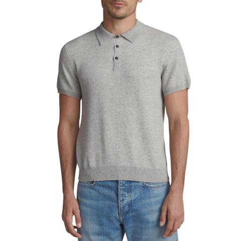 Rag & Bone Light Grey Tripp Fitted Cotton Polo