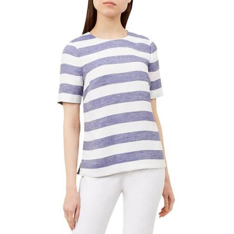Hobbs London Blue Stripe Aria Linen Blend Top