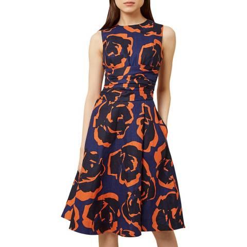 Hobbs London Navy Print Twitchill Linen Dress