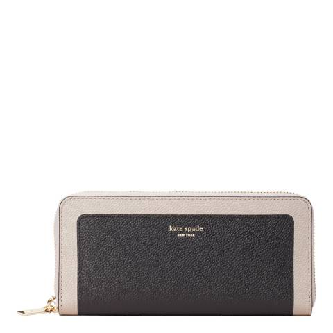 Kate Spade Black Taupe Slim Continental Wallet
