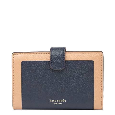Kate Spade Navy Tan Medium Bifold Wallet