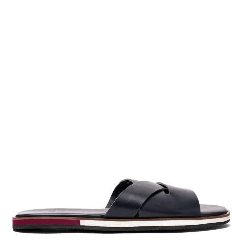 Oliver Sweeney Navy Balkholme Leather Slide Sandals