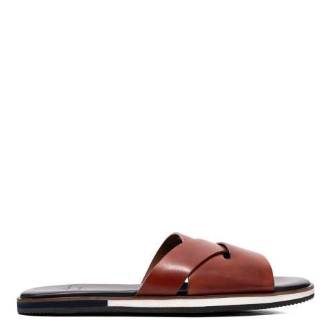 Oliver Sweeney Tan Balkholme Leather Slide Sandals