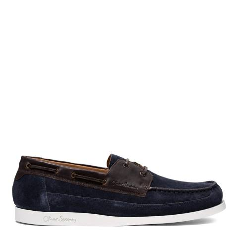 Oliver Sweeney Navy Lufton Suede & Leather Boat Shoes