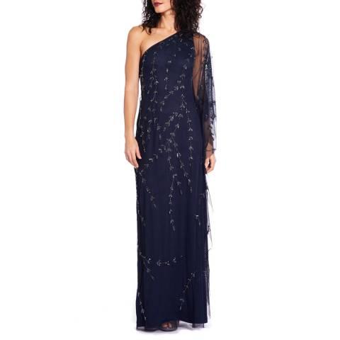 Adrianna Papell Midnight Beaded Tulle Long Dress