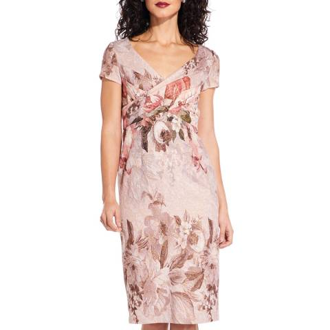 Adrianna Papell Blush Border Print Dress