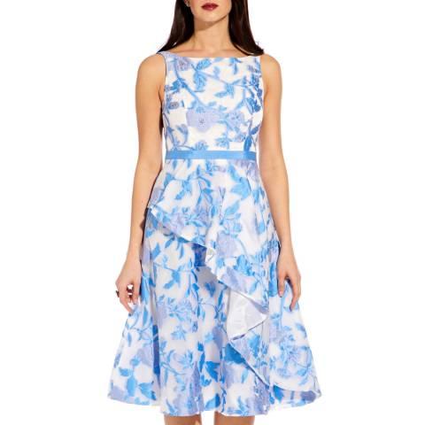 Adrianna Papell Sky Blue Organza Jacquard Dress