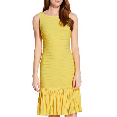Adrianna Papell Yellow Pintuck Flounce Dress