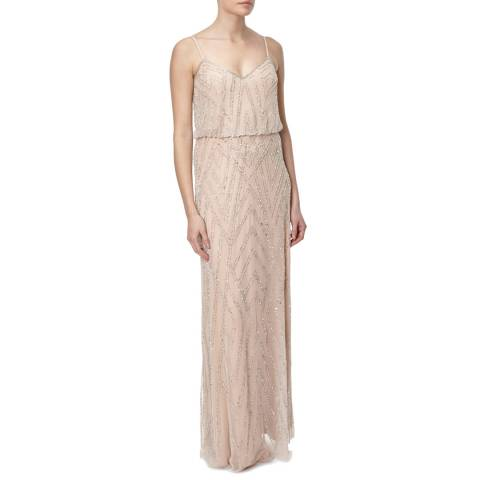 Adrianna Papell Nude/Silver Beaded Gown