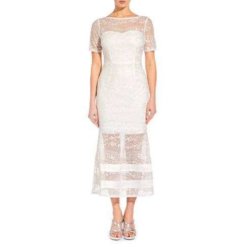 Aidan Mattox Ivory Embroidered Lace Dress