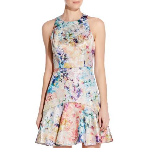 Aidan Mattox Multi Printed Jacquard Dress