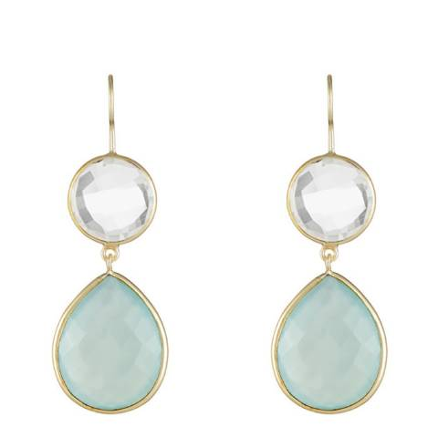 Liv Oliver 18K Gold Plated Clear Quartz & Chalcedony Pear Drop Earrings