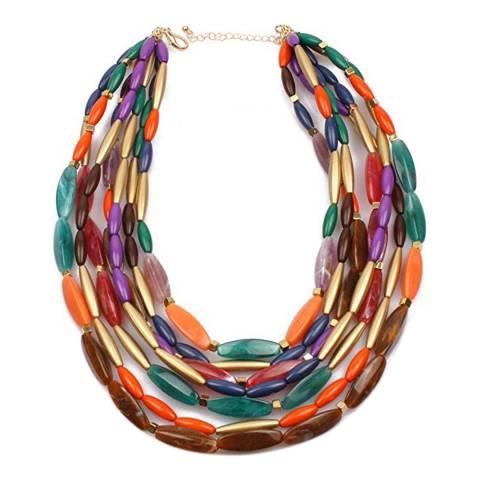 Liv Oliver 18K Gold Multi Color Statement Layer Bold Necklace