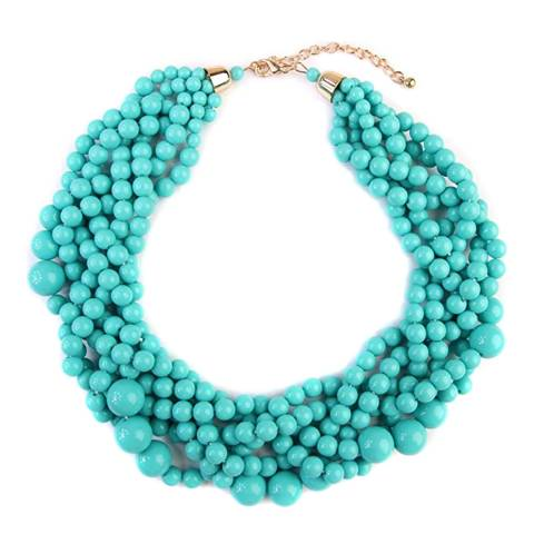 Liv Oliver 18K Gold Plated Turquoise Statement Necklace