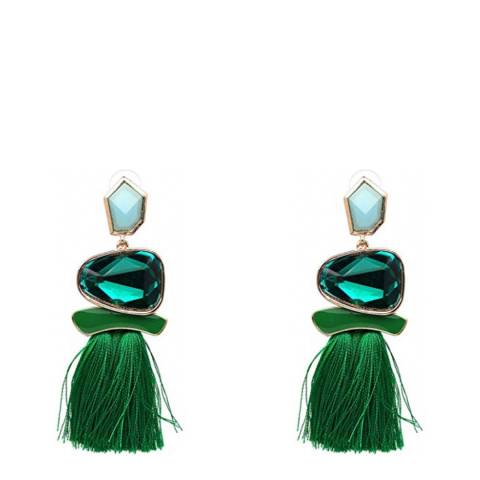 Liv Oliver 18K Gold Statement Green Tassel Earrings