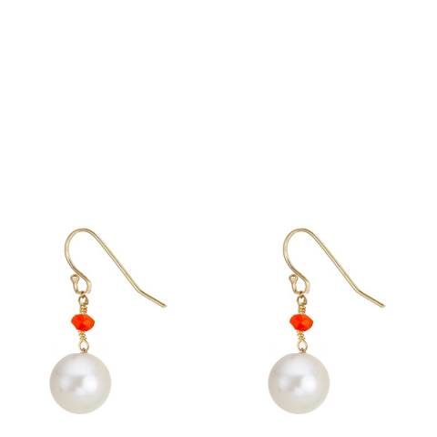 Liv Oliver 18K Gold Carnelian & Pearl Drop Earrings