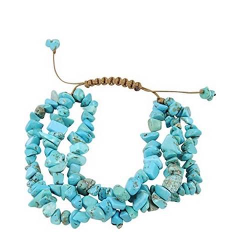 Liv Oliver 18K Gold Multi Strand Turquoise Bracelet