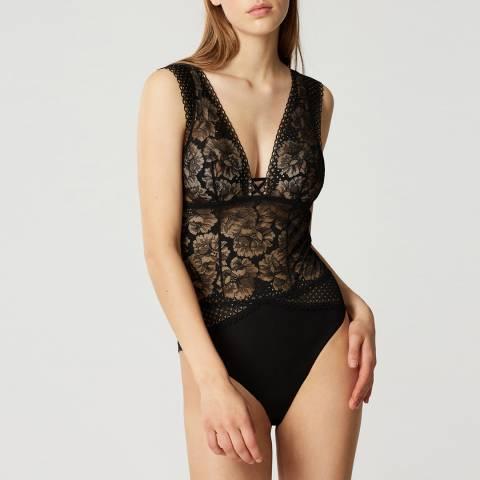 Maison Lejaby Noir Dot Flowers Soft Bodysuit