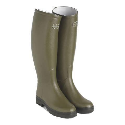 Le Chameau Green Saint Hubert Wellington Boots Calf Size 38