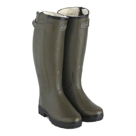 Le Chameau Green Chasseur Fourree Wellington Boots Calf Size 38