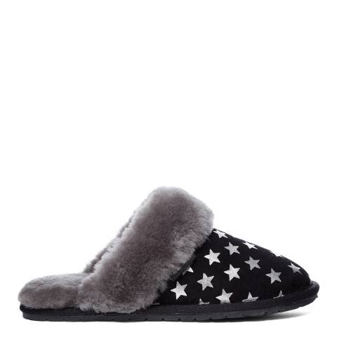 Fenlands Sheepskin Women's Black/Silver Star Sheepskin Mule Slipper