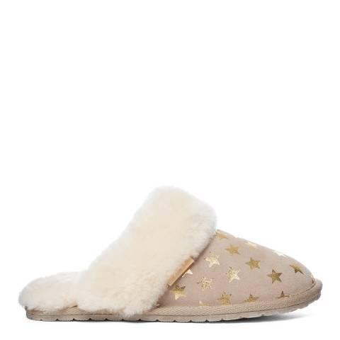 Fenlands Sheepskin Women's Beige/Gold Star Sheepskin Mule Slipper