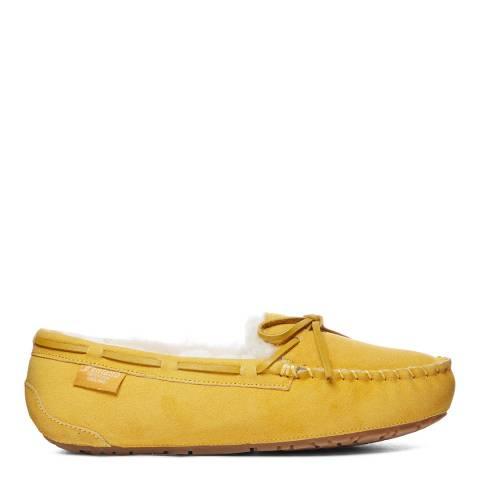 Fenlands Sheepskin Women's Mustard Yellow Sheepskin Moccasin Slipper