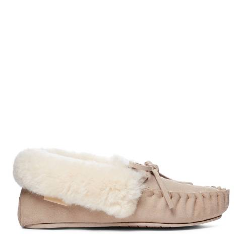 Fenlands Sheepskin Women's Beige Crimp Edge Sheepskin Moccasin Slipper